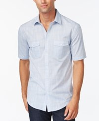 Alfani Black Warren Solid Short Sleeve Textured Shirt Elevate