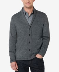 Perry Ellis Men's Marled Shawl Collar Cardigan Charcoal