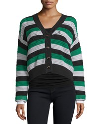 See By Chloe Button Front Cropped Cardigan Green White Women's Size 44 Green White