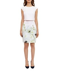 Ted Baker Sneha Pearly Petal Tiered Dress Nude Pink