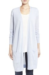 Women's Halogen Long Linen Blend Cardigan Blue Xenon