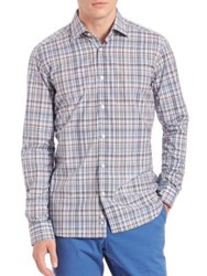 Saks Fifth Avenue Plaid Cotton Sportshirt