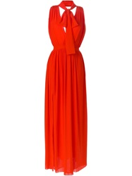 Msgm Pussy Bow Sleeveless Gown Red