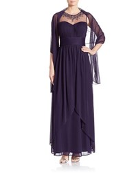Patra Beaded Illusion Gown Wine