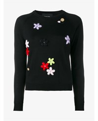 Simone Rocha Floral Embroidered Knitted Sweater Black Multi Coloured Raspberry Pink