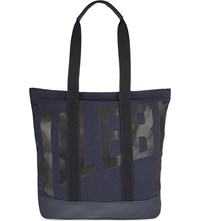 Vilebrequin Bertrand Cotton And Leather Beach Bag Navy Blue