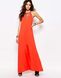 Wyldr Slinky High Neck Backless Maxi Red