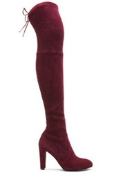 Stuart Weitzman Highland Suede Boots In Red