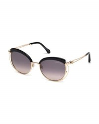 Roberto Cavalli Capped Metal Butterfly Sunglasses Rose Gold Pink