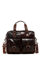 Jack Georges Spikes And Sparrow Single Gusset Top Zip Genuine Buffalo Leather Briefcase Brown