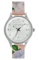 Ted Baker 'Dress Sport' Patent Leather Strap Watch 32Mm Floral Pink Silver