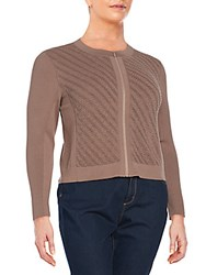 Lafayette 148 New York Plus Size Wave Stitch Cardigan Nutmeg