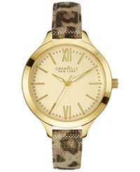 Caravelle New York By Bulova Women's Metallic Leopard Print Leather Strap Watch 37Mm 44L161 Women's Shoes