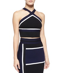 Jonathan Simkhai Ribbed Colorblock Knit Crop Top Navy Black White