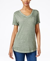 Styleandco. Style Co. Petite V Neck Burnout Pocket Tee Only At Macy's Olive Sprig