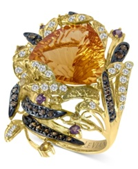 Le Vian Citrine 9 1 10 Ct. White Topaz 1 2 Ct. Chocolate Diamond 2 5 Ct. T.W. And Garnet 1 5 Ct. T.W. Ring In 14K Gold Orange