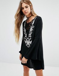 Lira Tie Up Front Boho Dress With Embroiderey Detail Black