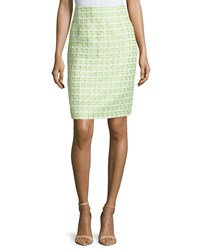 Oscar De La Renta Tweed Pencil Skirt Peridot