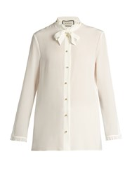 Gucci Tie Neck Silk Crepe De Chine Blouse Cream