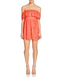 Lovers Friends Off The Shoulder Ruffle Mini Dress Coral Reef