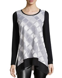 P. Luca Long Sleeve Check Print A Line Tunic Gray