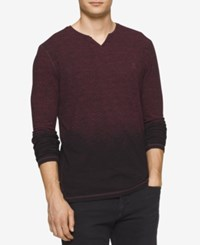 Calvin Klein Jeans Men's Fading Slit Neck Sweater Dark Red Heather
