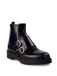 Prada Double Monk Strap Leather Booties Baltico