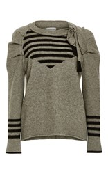 Sonia Rykiel Wool Cashmere Pleated Sleeves Sweater Dark Grey
