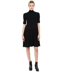 Alberta Ferretti Mock Neck Short Sleeve Dress Black