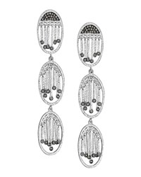 Spring Silver Three Oval Diamond Earrings Coomi