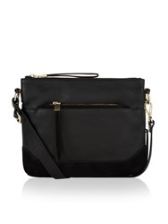Accessorize Penelope Suede And Leather Combo Across Body Bag Black