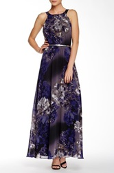 Sl Fashions Printed Faux Leather Belted Maxi Dress Purple