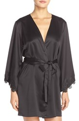 Women's Flora Nikrooz 'Gigi' Mesh Back Charmeuse Robe Black