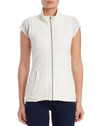 Context Quilted Stand Collar Vest Ivory