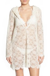 Women's For Love And Lemons 'Cannes' Floral Lace Hooded Cover Up
