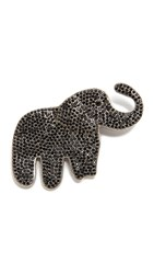 Marc Jacobs Pave Elephant Brooch Jet Antique Silver