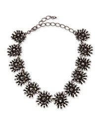 Oscar De La Renta Crystal Firework Station Necklace Black
