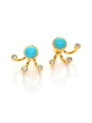 Pamela Love Graviation Turquoise And White Topaz Ear Jacket And Stud Earrings Set Gold Turquoise