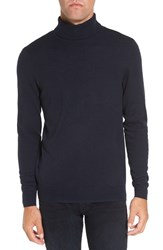 Singer Sargent Men's Honeycomb Texture Wool Blend Turtleneck Sweater Dark Navy