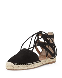 Aquazzura Belgravia Suede Closed Toe Espadrille Sandal Black