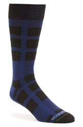 Men's Hook Albert Check Socks Blue