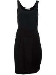 Christian Dior Vintage Draped Detail Dress Black