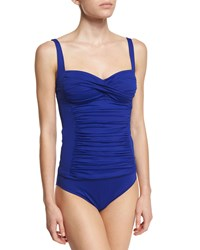 Lablanca Ruched Sweetheart Solid Tankini Top Women's Blueberry