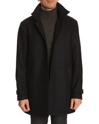Menlook Label Long Navy Woollen Coat