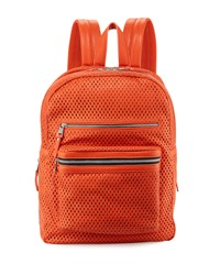 Ash Danica Large Perforated Leather Backpack Mandarin Orange