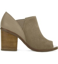 Aldo Jacqueline Leather And Suede Open Toe Boots Beige