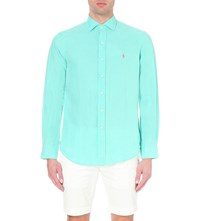 Ralph Lauren Linen Long Sleeved Shirt Blue