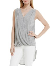Vince Camuto High Low Front Twist Wrap Tank Grey