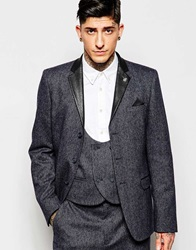 Asos Slim Suit Jacket In Tweed Navy