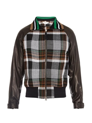 Cerruti Checked Leather Sleeve Bomber Jacket